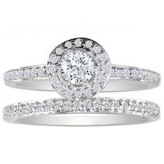1/2ct Pave Diamond Bridal Engagement Ring Set in 14k White Gold ( GH I1 )
