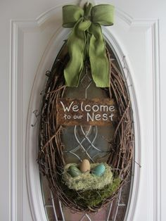 Easter Wreath - Spring Wreath - Welcome Door wreath.via Etsy.
