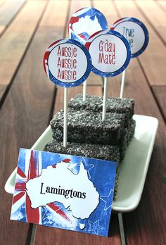 Lamingtons are a tasty treat generally only found in Australia, they are the national cake of Australia. These miniature cakes are unique to Australia because they are made with vegemite and vegemite is only sold in Australia Party Labels, Party Printables, Food Labels, Australian Party, Australia Day Celebrations, Thank You Party, Aussie Food, Party Co, Tent Cards