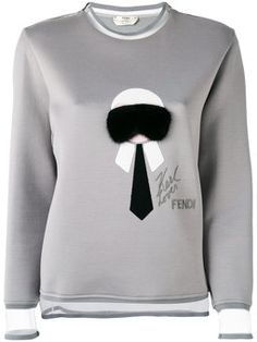 'Karl' fur trim sweatshirt