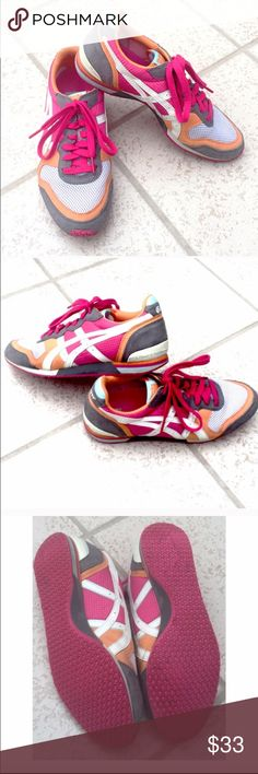 RARE Asics Onitsuka Tiger pink athletic shoes Size 8, true to size. Colors are pink, orange, gray, & white. Excellent condition! Barely worn once, no major flaws. 🔴Bundle to save! 🔴NO TRADES, no modeling. 🔴REASONABLE offers welcome via offer button. Asics Shoes Sneakers