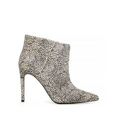 Mango Fur Leather Ankle Boot with animal print, pointed toe, and stiletto heel