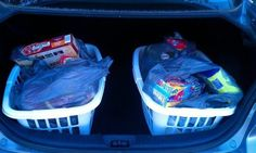 [COLLEGE HACK] Grocery day is a cinch with this #lifehack ..... Keep a laundry basket in the trunk and groceries way easier to carry inside!