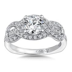 Caro74 Diamond Ring in 14K White Gold with Platinum Head