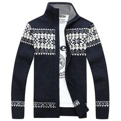 Mens Fall Winter Sweater Snowflake Pattern Knitted Thick Stand Collar Casual Cardigan Cheap - NewChic Mobile