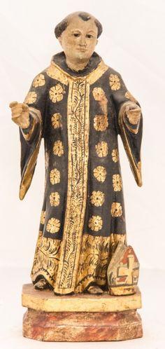 Imagem de madeira policromada, São Bento. Bahia, século XIX. Alt. 26cm. Não vendido. Preço base 1.500,00