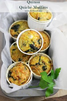 Cute idea, full of protein, veggies and a little fun!  Quinoa Quiche Muffins with Spinach and Cheese Recipe | Diethood