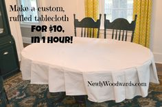 Make your own custom ruffled tablecloth in an hour. (Hint: This project uses a single drop cloth. Drop Cloth Tablecloth, Ruffled Tablecloth, Fitted Tablecloths, Tablecloth Ideas, Home Projects, Sewing Projects, Sewing Ideas, Drop Cloth Projects, Dining Room Table