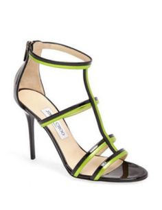 Jimmy Choo High Heel Thistle T Strap caged Sandals patent New
