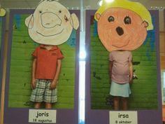 kinderen tekenen  eigen gezicht op hun foto. de oogjes worden erop geplakt.