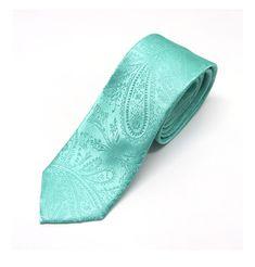Mens Tie Mint Green Tonal Paisley Skinny Necktie by TieObsessed