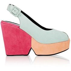 Robert Clergerie Women's Dylan Colorblocked Suede Platform Sandals ($239) ❤ liked on Polyvore featuring shoes, sandals, suede platform sandals, high heel platform sandals, suede sandals, platform wedge shoes and peep toe platform sandals
