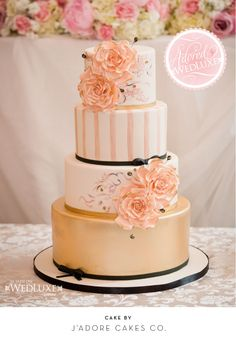 WedLuxe Magazine  Gorgeous wedding cake - love the roses and the balance of colors