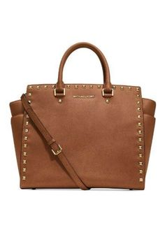Hello Michale Kors Selma Tote! Pretty gold studs! Everything fits in this bag!  Get your Selma at https://www.bagladyshop.com/products/michael-kors-handbag-selma-stud-tote-luggage  www.BagLadyShop.com  #michaelkors #kors #selma #stud #tote #luggage #gold #brown #tan