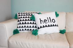 DIY Hand-Painted No-Sew Tassel Pillows