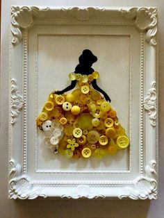 Belle siloute with buttons - wall art - Disney - princess
