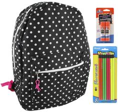 Black Polka Dots Backpack School Bags for Girls + Free School Supplies for Kids