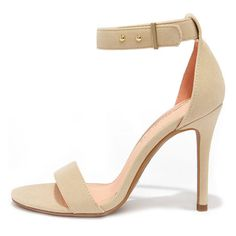 Play It Cool Nude Suede Ankle Strap Heels ($30) ❤ liked on Polyvore featuring shoes, pumps, white, nude high heel pumps, high heel shoes, white studded pumps, stiletto pumps and white pumps