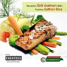 Maple Leaf brings to you Delicacies Norwich Grill Salmon With Yummy Saffron Rice. Are you Looking for the Best RoofTop BBQ Restaurant at Uttara, Dhaka? Charcoal Is the 1 you are looking for !! enjoy sight seeing and enjoy the Best BBQ Food also mouth watering kebabs & steaks. Time: 03.00 pm to 11.00 pm Reservation: 01966667652 / 01966667773. Make Prior Reservation to avoid last minute Disappointment.  #Charcoal #BBQ #Uttara #Mapleleaf #Dhaka #RoofTop Bbq Grill, Grilling, Best Bbq Recipes, Charcoal Bar, Saffron Rice, Bbq Food, Grilled Salmon, Kebabs, Steaks