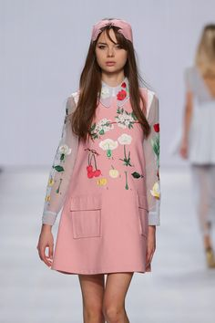 Adorable and playful pinafore shift dress with oversized pockets and embroidery detailing. | Fashion; style; runway; trending | MINTY WARES | VIA - Vivetta Runway Show