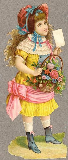 Victorian Scrap — Girl with Flowers and Letter  (384x900)
