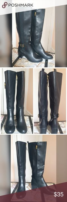 Selling this NWT tall black riding boots on Poshmark! My username is: danicaccs. #shopmycloset #poshmark #fashion #shopping #style #forsale #Sam & Libby #Shoes