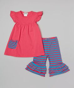 Look what I found on #zulily! Hot Pink Angel-Sleeve Tunic & Pants - Infant, Toddler & Girls #zulilyfinds