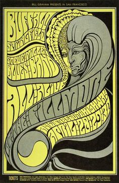 Bill Graham, concert promoter for the Fillmore Auditorium in San Francisco, commissioned the following concert posters from Wes Wilson between 1966 and 1968.