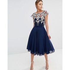 Chi Chi London Chiffon Tulle Prom Dress With Contrast Embroidery ($94) ❤ liked on Polyvore featuring dresses, navy, fit and flare dress, navy blue chiffon dress, tall dresses, embroidery dress and embroidered prom dress