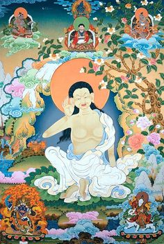 Milarepa, always dipicted with his hand to his ear, (1052-1135) is one of the most famous figures in Tibetan history