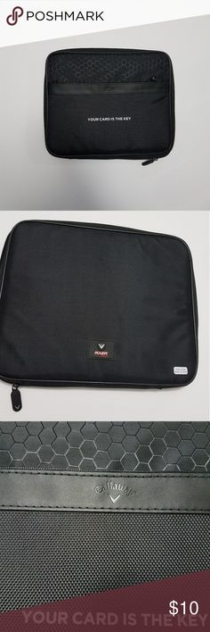 """Tablet case, Callaway, never used it Product Description: Callaway Razr Series Tablet Portfolio Black, polyester zippered tablet portfolio.Slightly oversized, with black dobby accent, Silicone RAZR logo patch on the back, Secure zippered front pocket, PU front accent with debossed Callaway logo, Silicone zipper tabs with silver Callaway """"V"""" emblem detail. Inside: attached suede-like lining with heavy-grip elastic bands which accommodate and hold all tablet sizes - adjusting to the angle…"""