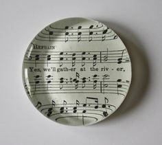 hymnal music paperweight by TheShabbyCreekShop on Etsy, $5.00 I Love Music, Sound Of Music, Sheet Music Crafts, Crafts To Make, Diy Crafts, Clothes Crafts, Glass Paperweights, Note Paper, Paper Weights