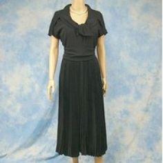 Vintage 50s Designer Larry Aldrich Rayon Crepe Cocktail Dress, Party Dress, Sz S