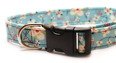 Retro Light Blue with Pink Cherry Blossoms Large Dog Collar via Etsy