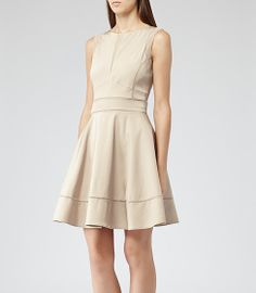 REISS MIA CONTRAST DETAIL FIT AND FLARE DRESS NUDE