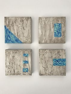 Poolside - series of 4 small 6x6 inch original paintings. Acrylic mixed media on canvas.