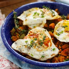 Chile-Sweet Potato Hash with Fried Eggs