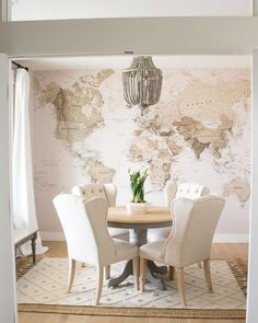 Instagram World Map Mural, Glass French Doors, White Oak Floors, Office Makeover, Wood Colors, Kids House, My Dream Home, Home Office, Diy Home Decor