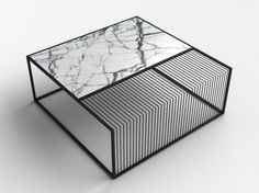 Wilma Marble & Iron Coffee Table (Grill Table Style Coffee Table) The black metal framing that makes up the structure of the table divides the top surface i Marble Furniture, Metal Furniture, Cool Furniture, Modern Furniture, Furniture Design, Asian Furniture, Traditional Furniture, Furniture Stores, Design Grill
