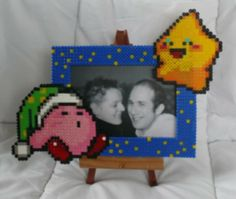 Kirby  photo frame hama perler beads by babezaza