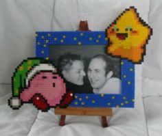 Kirby  photo frame hama perler beads by babezaza