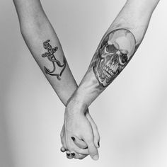 Anchor & skull tattoo. Really like this as a couples tattoo idea.