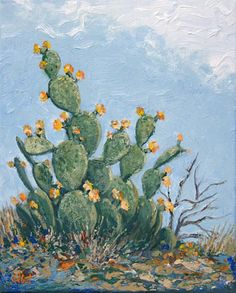 """prickly pear cactus flowers"",, 2015 by Norman Engel"