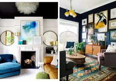 On the left, white and bright blue hues animate the living room. On the right, a wooden coffee table and cabinet matched with a vibrant, patterned area rug and wall art make this eclectic sitting room stylish and homey.