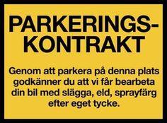 028 - Varningsskylt - Parkeringskontrakt