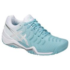 new concept 87ea9 7093b Asics Gel Resolution 7 Women s Tennis Shoe, in porcelain blue and silver  colorway, is