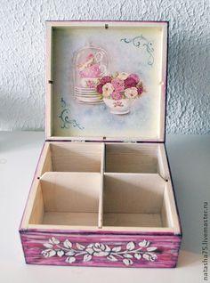 """Купить Чайная шкатулка """"Романтичное чаепитие"""". - бледно-розовый, чайная коробка, чайная шкатулка, розы"""