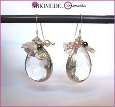 Bridal earrings - Orecchini in argento sposa con cristalli e perle di Arkimede Ornamenta - Gioielli artigianali su DaWanda.com