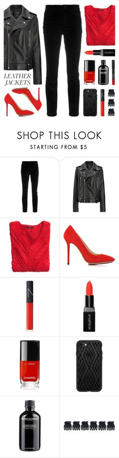"""""""Cool-Girl Style: Leather Jackets"""" by lgb321 ❤ liked on Polyvore featuring Dolce&Gabbana, Joseph, H&M, Charlotte Olympia, NARS Cosmetics, Smashbox, Chanel, Casetify, Grown Alchemist and Accessorize"""