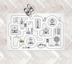 Monochrome Nursery / Game Road Map City Rug / Kids City Area Rug / Kids Play Rug / PVC Rug / Kids Decor / Kids Non Slip Mat / Toddler Room (85.00 USD) by petekdesign